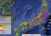 Mapa en tiempo real de los niveles de radiación en diversas zonas de Japón